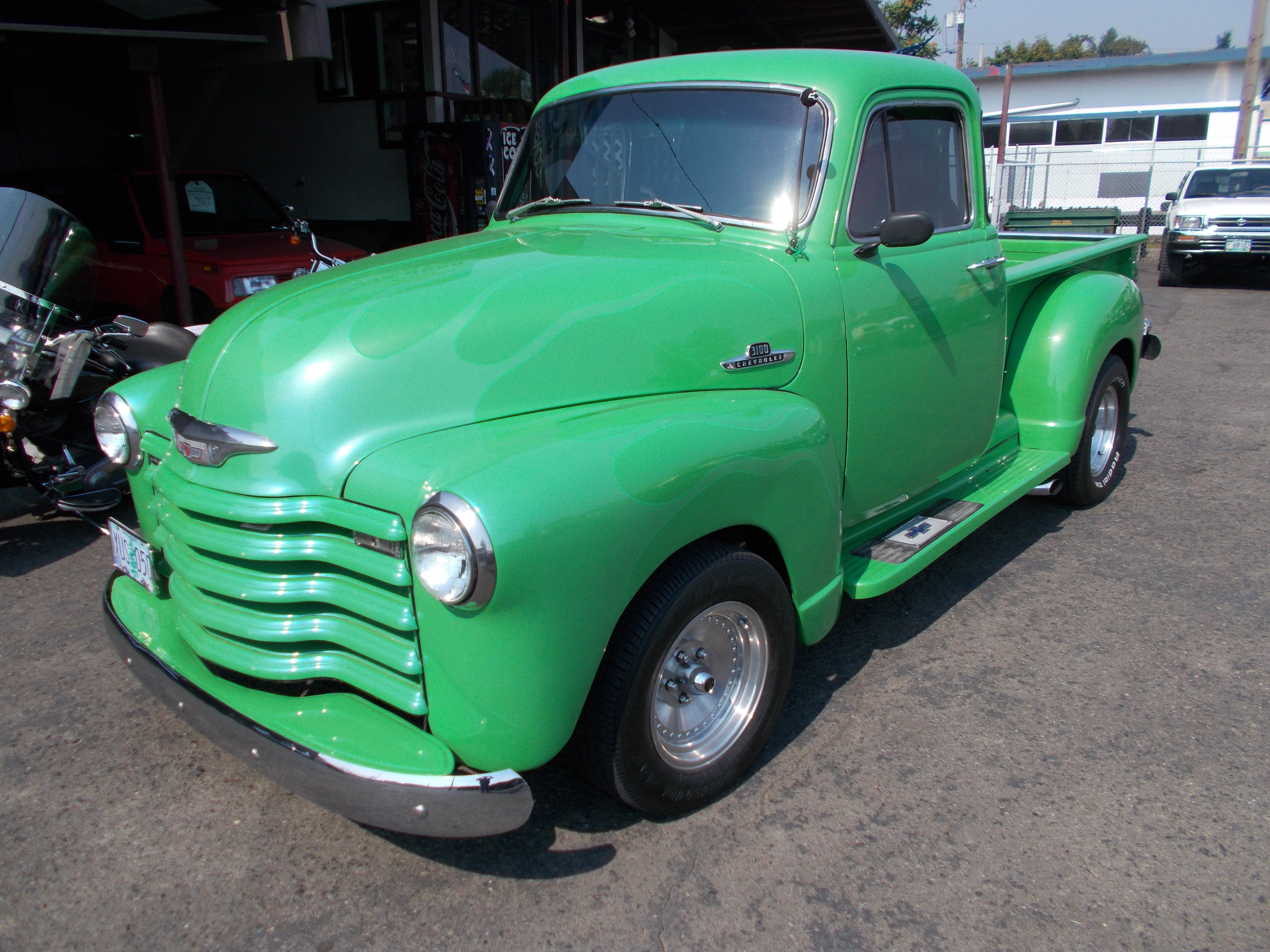 Hamilton Auto Sales 1949 Chevy Truck 5 Window 1955 3100 Pickup 1st Series Street Rod 283 V 8 Power Pack Heads Rebuilt 3 2 Barrel Carbs W Progressive Linkage Headers New Exhaust